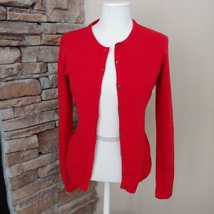NWOT Bold Red Soft Cardigan jeweled buttons